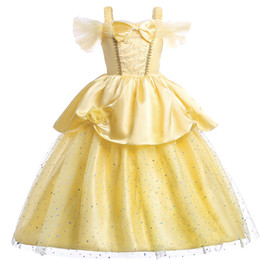 $enCountryForm.capitalKeyWord NZ - 2-12Y Christmas yellow Children Princess Bella Dress Baby Kids Clothes Princess Fancy Costume Cartoon Fairy Cosplay Dress Up For Girl Party