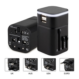 Wholesale Travel Adapter with Dual USB Charging Ports for USA EU UK AUS Cell phone laptop Black