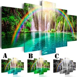 $enCountryForm.capitalKeyWord Canada - Wall Art Picture Printed Oil Painting on Canvas No Frame 5pcs set Home Decor Extra Mirror Border Rainbow and Pool
