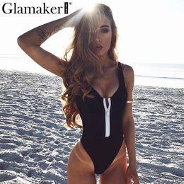 $enCountryForm.capitalKeyWord Australia - Glamaker Beach sexy bodysuit women Summer zipper sleeveless body suit Backless slim bodycon jumpsuit romper v neck overalls 2018 S1012