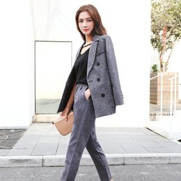 Casual Trouser Suits NZ - Korean style women's blazer + trouser two pieces set casual slim double breasted grey suits for business lady jn131