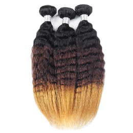 Toned hair online shopping - Ishow Hair Ombre Brazilian Hair Yaki Straight b Human Weave Bundles Bundles Tone Non Remy Hair Extensions