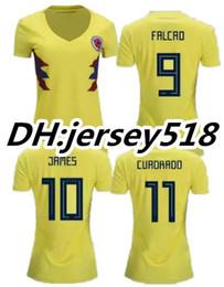 502b4a83d12 2018 World Cup Colombia women home yellow soccer jersey 2018 FALCAO JAMES  CUADRADO TEO BACCA woman football shirts jerseys