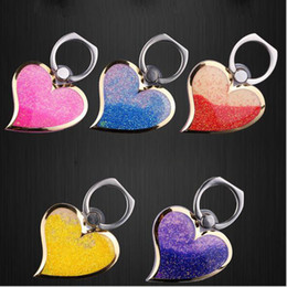 Wholesale Rotating Liquid Finger Grip Bling Glitter Heart Universal Cell Phone Ring Hook Holder Stand For iphone Samsung tablet pc