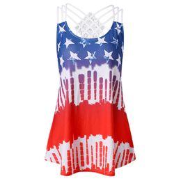 $enCountryForm.capitalKeyWord UK - New Women Summer Block Tank Top 2018 Plus Size 5XL Open Back American Flag Tank Tops Casual Pockets O Neck Sleeveless Tops Tees