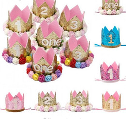 Chinese  Happy First Birthday Party Hats Decor Cap One Birthday Hat Princess Crown 1st 2nd 3rd Year Old Number Baby Kids Hair Accessory manufacturers