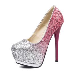 PurPle glitter stilettos online shopping - Sequins Waterproof Thin and nightclub sexy high heel women s waterproof table thin and low shoes women High heeled shoes