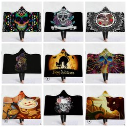 Discount towel hoodies - Skull Hooded Blankets Adult Kids Halloween Skull Themed Hoodie Blanket 3D Printed Magic Shawl Towel High Quality Fleece