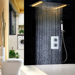 Shower head lamp online shopping - 2 ways LED Ceiling Mounted Shower Set Thermostatic Mixer Bathroom Led Rainfall LED Shower Head mm color Shower