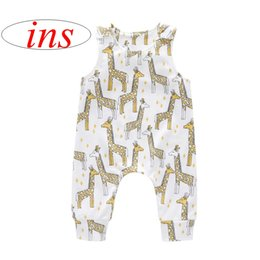 Wholesale ins new summer infant giraffe full print rompers Jumpsuits kids big animal print bow rompers baby cotton jumpsuits years
