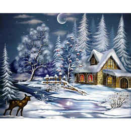 Diy Painted Picture Frames Australia - Framed Snow House DIY Painting By Numbers Drawing By Painting Kits Painting Hand Painted On Canvas For Home Wall Art Picture