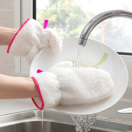 bamboo bowls kitchen Australia - Bamboo Fiber Washing Dishes Cleaning Gloves Kitchen Cleaning Double-Sided Brushing Pan Cleaning Bowl Oil Stains Waterproof Gloves