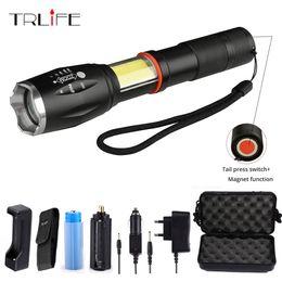 $enCountryForm.capitalKeyWord Australia - COB Led flashlight 5000lums tactical XM-L2 Lanterna torch hidden COB flash light tail magnet design use 18650 battery
