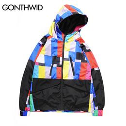 4566f30ed12 GONTHWID Multi Color Block Patchwork Hooded Zip Up Jackets Men Casual  Windbreaker Jacket Coats Male 2018 Hip Hop Streetwear