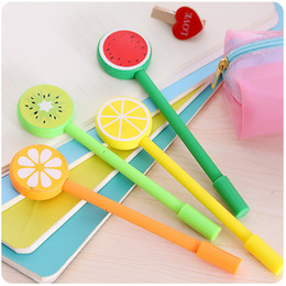 $enCountryForm.capitalKeyWord Canada - 2 pcs  lot Candy color Gel Pen School Cute Black lnk pens Fruit style Girls Gifts Stationery Students Writing Office Suppies