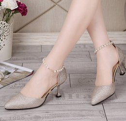 elegant gold sandals Australia - Crystal Women High Heel Pumps Pointed Toe Elegant Lady Wedding Shoes Sexy Lady sandals Heels Plus Size