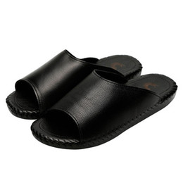 e198ca7b1736f branded sandals for mens 2018 new style mens leather sandals male flip  flops slide sandals fashion Print gents sandal black size 38-44