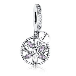 9e970c4a8a53ee European 925 Sterling Silver Family Tree Pink Crystal Charms Beads Fit Pandora  Charm Bracelet&Necklace Authentic Jewelry Making