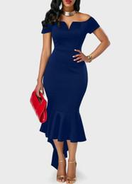Blue Tuxedo Wholesale NZ - 2018 free shipping Explosion models Europe and the United States V collar strapless short-sleeved dress tuxedo skirt dress Party Dresses 5r6