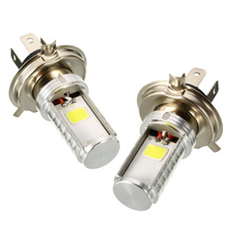 Super bright headlightS motorcycle online shopping - 2pcs Motorcycle H4 Super Bright COB LED Headlight Chips High Low Beam Front Light DC12 V Motorbike Head Lamp Bulb White