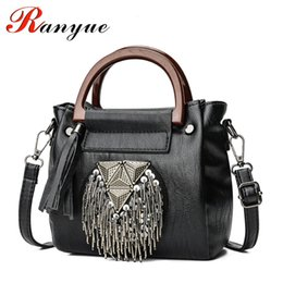Designer Stud Handbags NZ - RANYUE Genuine Leather Women Handbags Designer Tassel Female Shoulder Bags Rivet Bag Woman Crossbody Bag Studs Ladies New 2018