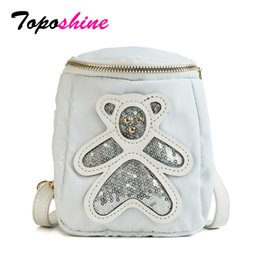 $enCountryForm.capitalKeyWord Canada - Toposhine New Fashion Shining Sequined Nylon Women Handbag Lovely Cartoon Bear Smart Girl Phone Waist Bag Female Shoulder Bag