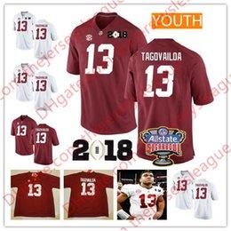 Alabama Crimson Tide NCAA Youth  13 Tua Tagovailoa Red White Kids Stitched  2018 Championship Patch College Football Jerseys a8bb31f38