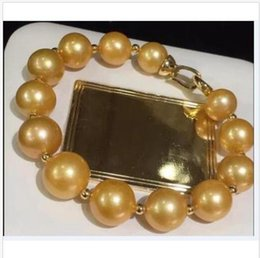 Pearl Channel Australia - HUGE NEW HOT ROUND AAA 12-13MM South Sea Golden Pearl Bracelet 8 Inch