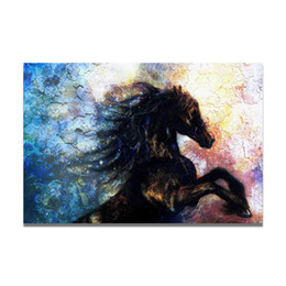$enCountryForm.capitalKeyWord NZ - Handpainted & HD Print Modern Abstract Animal Art oil Painting Black Horse,Home Wall Art Decro On High Quality Thick Canvas Multi sizes a25