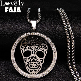 Necklaces Pendants Australia - 2018 Skull Crystal Stainless Steel Necklace Women Halloween Silver Color Necklaces Pendants Jewelry calavera mexicana N18527