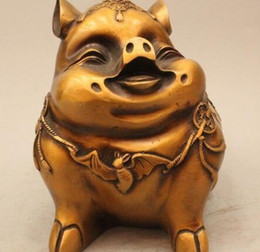 "$enCountryForm.capitalKeyWord NZ - 8"" Chinese Fengshui Bronze Fu Wealth Zod ac Year Pig Chiropter Statue Sculpture"