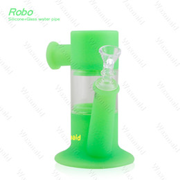 China Water Bongs UK - Bong Glass Pipe Smoking Bubbler Waxmaid Robo Silicone Water Pipe Glass Dab Rig With Glass Bowl China Wholesale Free Shipping