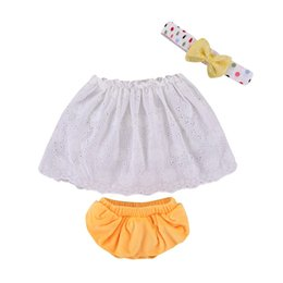 off white lace tops UK - Mikrdoo Baby Girl Summer Casual 3PCS Clothes Set Off Shoulder Lace Elastic Top Ruffle Bottom Polka Dot Bow Headband Cute Outfit