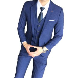 China LEQEMAO 3 Pcs Set Gentleman Leisure Casual Suits With Pants With Vest Plaid Business Meeting Formal Suits For Men Plus Size cheap leisure plus suppliers