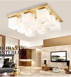 living room ceiling lamp shades NZ - Glass shade+OAK Modern led ceiling lights for living room bedroom lamparas de techo wooden led ceiling lamp fixtures luminaire