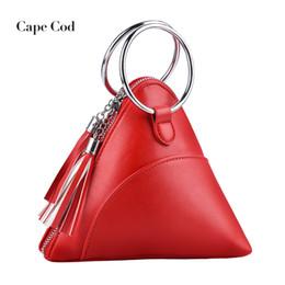3dc1ce4eb7 Red Ring Clutch Australia - Women's dumplings package PU handbag solid mini  tassel triangle bag ladies