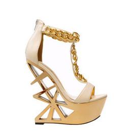 c95d33144956cd Sexy Summer Ladies Metal Chains T-Strap Sandals Triangle Fretwork Strange  Heel Open toe Platform Zip Night Club Stage Shoes