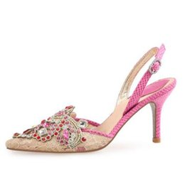 WITH BOX 2018 summer mixed colors sandals high heel fine with lace  rhinestone mesh pointed women s shoes ethnic color diamond wedding shoes ed9d0d2c5ec5
