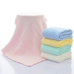 Discount blue baby baths - Newborn 100% Cotton Hold Wraps Infant Muslin Blankets Baby 6 Layers Gauze Bath Towel Swaddle Receiving Blankets 105cm*10