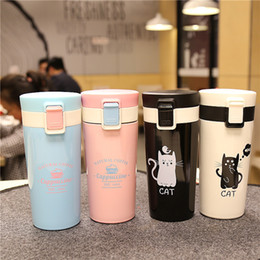 Discount cat mug cups - High Quality Stainless Steel Vacuum Flask Coffee Cups Mugs for Car Thermal Bottle Thermocup Fashion Cute Cat Tumbler