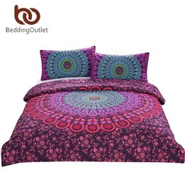 Black White Rose Bedding UK - Wholesale-BeddingOutlet Mandala Bedding Set Queen Bohemian Printed Soft Bedclothes Twill Elephant Duvet Cover with Pillowcase 3pcs