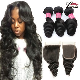 22 24 26 inch hair bundles 2019 - Brazilian Virgin hair Loose Wave Bundles With 4X4 Closure 3 4 Bundles Brazilian Hair Weave 8a Unprocessed Human Hair Bun