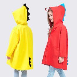 Boys red coats online shopping - Cute Dinosaur Poncho Windproof Boy And Girl Rain Coat Outdoors Waterproof Rainwear Yellow Red New Arrive xw C