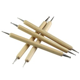China Wood And Stainless Steel Ball Stylus Polymer Clay Pottery Ceramics Sculpting Modeling Handmade Tools Set 5pcs bag suppliers