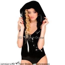 Discount latex rubber costume - Sleeveless Black Sexy Latex Bodysuit With Hoodies Rubber Body Suit LTY-0220