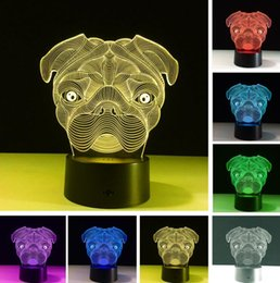 bedroom night lamp Canada - Cartoon Cute Shar Pei Dog Colorful Gradient RGB LED Lamp 3D Baby Night Light Novelty Bedroom Desk Table Home Decor Kids Child Toys