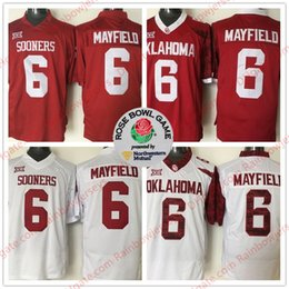 NCAA Oklahoma Sooners  6 Baker Mayfield 2018 Rose Bowl Patch College  Football Heisman Jerseys OU Stitched Men Youth Kid Red White Limited 2b251662f