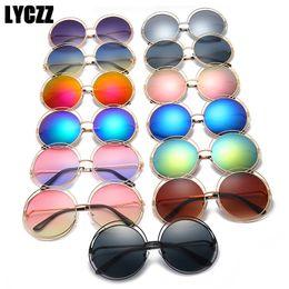 32b7ab32d1 LYCZZ Retro Big Double Circle Sunglasses Women Oversized Stylish Round  Mirror Sunglass Brand Designer Ladies Sun Glasses UV400