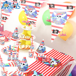 birthday decorations items UK - Really High quality pirate party decoration unit items happy birthday kids baby girl boy party set suppliers