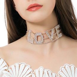 Elegant Diamond Chokers NZ - Fashion Rhinestone Diamonds Choker Necklace Charm Letter LOVE elegant party evening Necklaces for Women lady collar Jewelry Gift Accessories